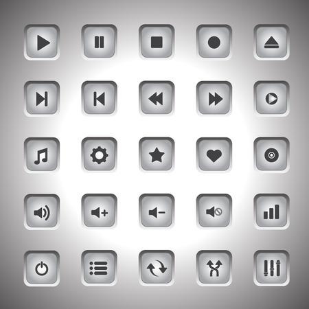 media player: Media player buttons collection design elements