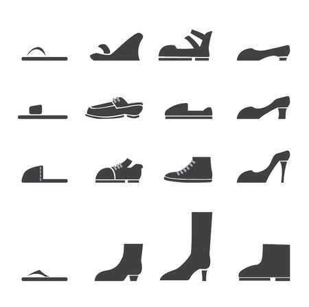hiking boots: shoes icon set Illustration
