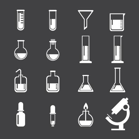 toxic substance: set of laboratory equipment icon Illustration