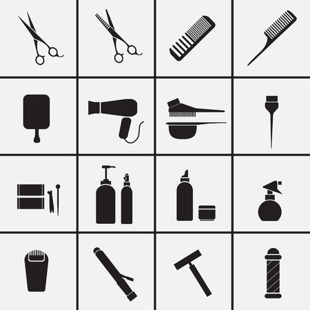 packaging equipment: Hairdressing equipment icons
