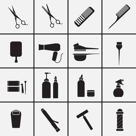 Icônes d'équipement de coiffure