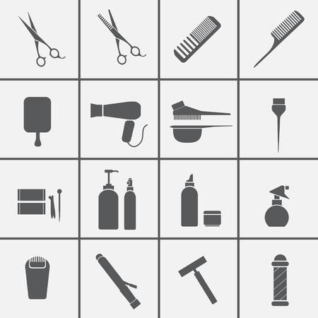 Icônes d'équipements de coiffure