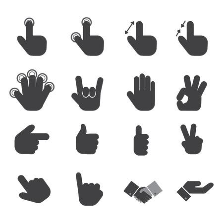 icône de la main réglé.