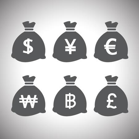 baht: vector money bags set