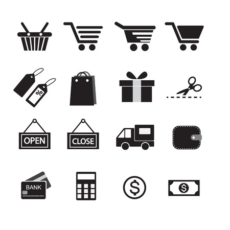 Shopping Icon Set. Vector
