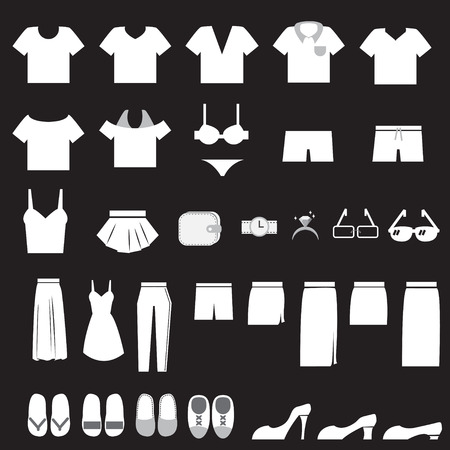 Vector Set of Clothes Icons Vector