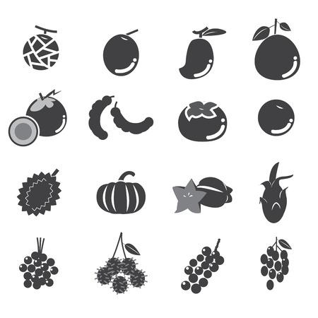 rambutan: fruit icon set