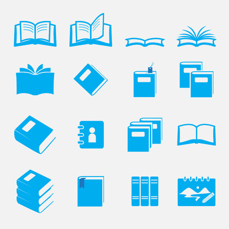 e reader: books icon set
