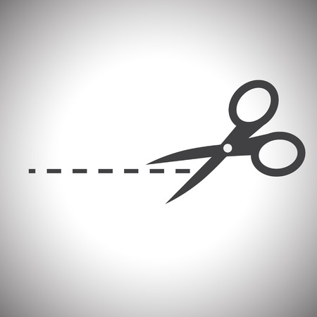 scissors icon: Vector scissors with cut lines isolated Illustration