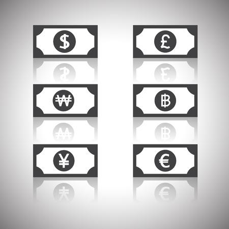 banconote euro: soldi icon - dollaro, euro, yen, sterlina, ha vinto, baht