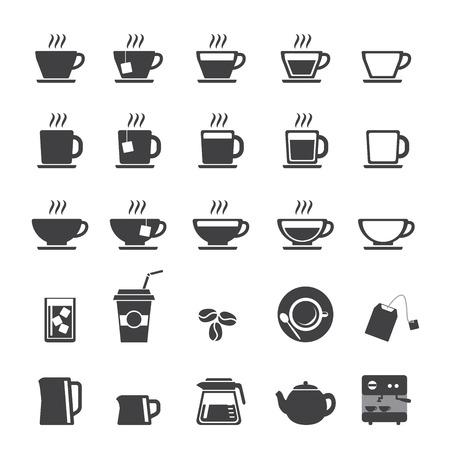 filiżanka kawy: Filiżanka kawy i herbaty kubek zestaw ikon Ilustracja