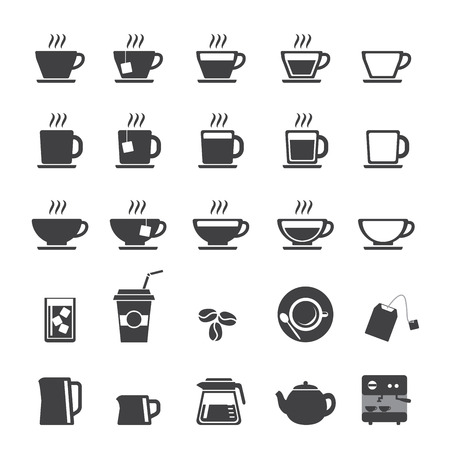 tazas de cafe: Taza de caf� y t� icono de la taza conjunto Vectores