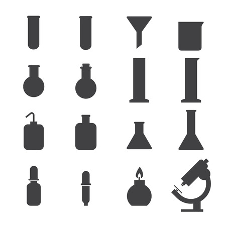 toxicology: set of laboratory equipment icon Illustration