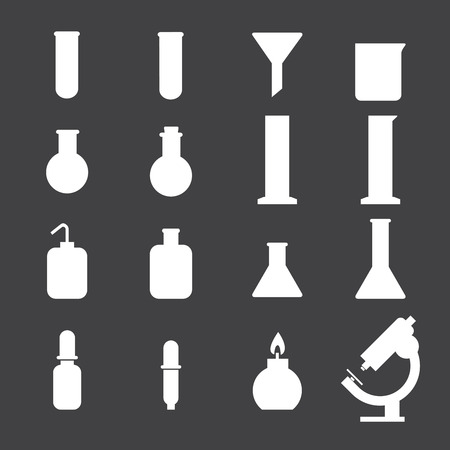 toxicology: set of laboratory equipment icon Illustration