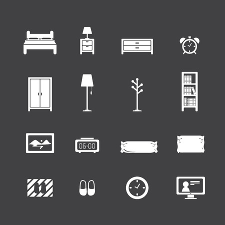 bedroom icon set Illustration