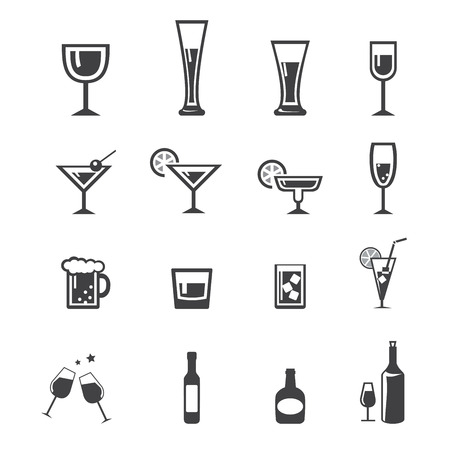 whisky glass: drink icon set