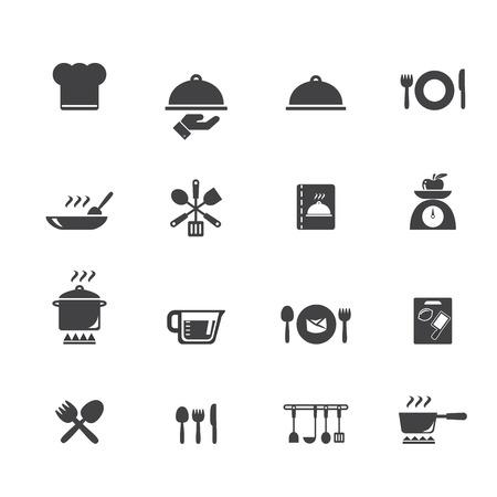 ustensiles de cuisine: Cuisine et cuisine icônes Illustration