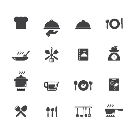 Koken en keuken iconen Stock Illustratie