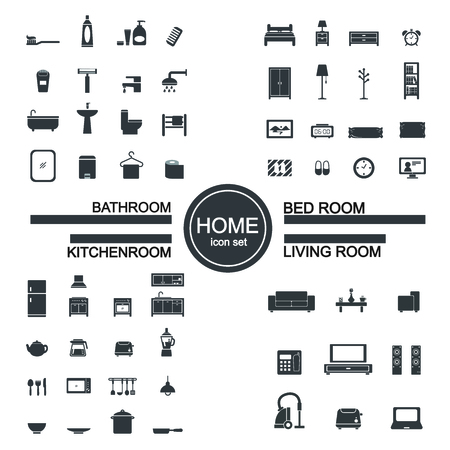 hotel bedroom: living room , bedroom , kitchen, bathroom icon set Illustration
