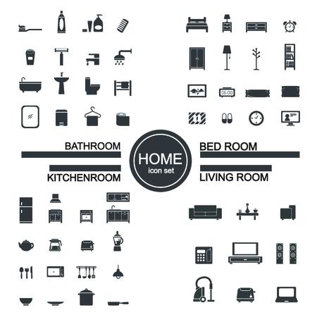 living room , bedroom , kitchen, bathroom icon set Illustration