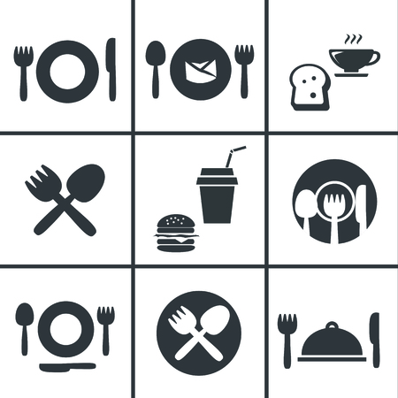 center court: Food Center, Food Court,fork and spoon icon set