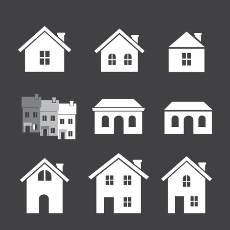 english village: house icon set