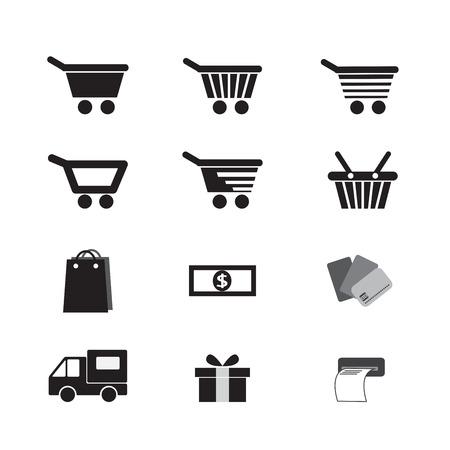 vector set shopping cart icon Vector