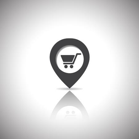icon shopping cart: Kartenmarkierung Einkaufswagen-Symbol