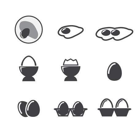 egg box: egg icon set Illustration