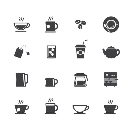 percolator: Coffee cup and Tea cup icon set