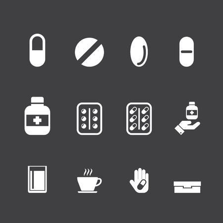 pill box: drug, medication vector set