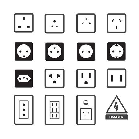 enchufe de luz: Toma de corriente eléctrica y el icono de enchufe Vectores