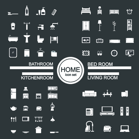 bathroom icon: living room , bedroom , kitchen, bathroom icon set Illustration