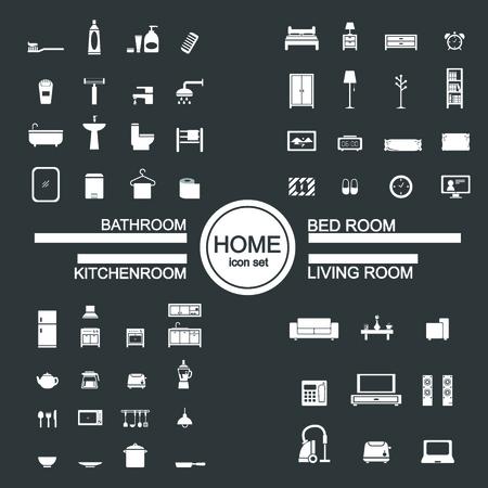 modern kitchen design: living room , bedroom , kitchen, bathroom icon set Illustration