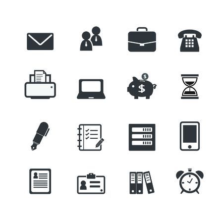 work office: Oficina de trabajo Workplace Business Financial Web Icons  Vectores