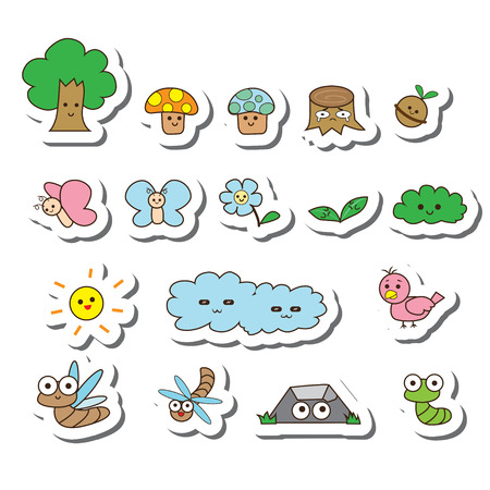 cartoon mushroom: vector tree cartoon set