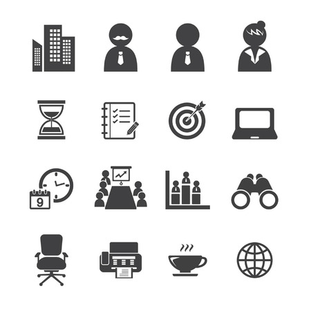 company building: office icon set