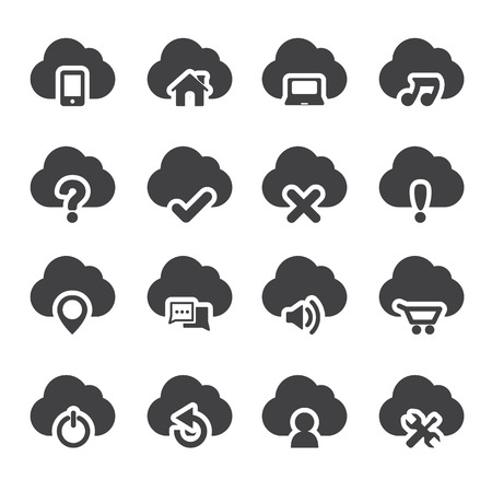 rubbish cart: Set of cloud icons