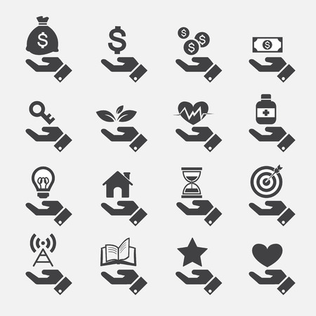 money bags: Hand concept icons