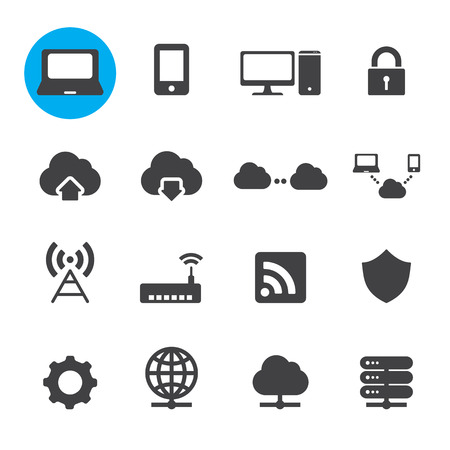 Network and cloud computing icons Vector
