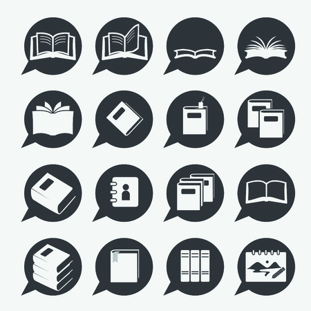 electronic publishing: books icon set