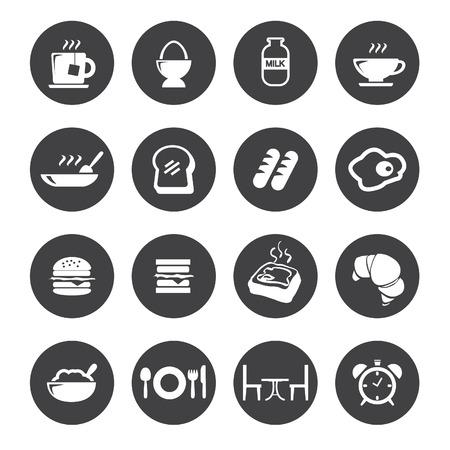 bolsa de pan: iconos de desayuno Vectores