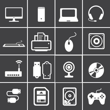 lcd monitor printer: computer icon set