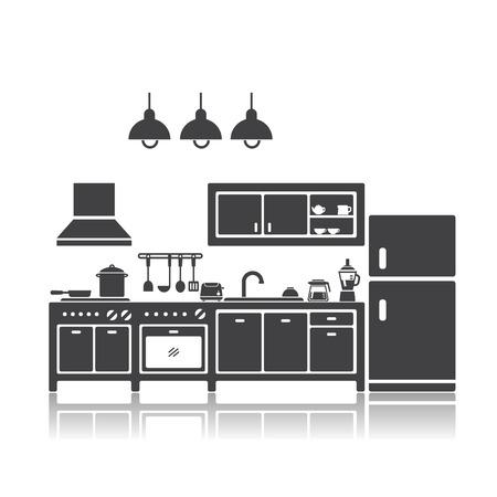 illustration of kitchen Vettoriali