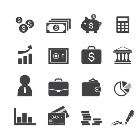 Money, finance, banking icons Vector