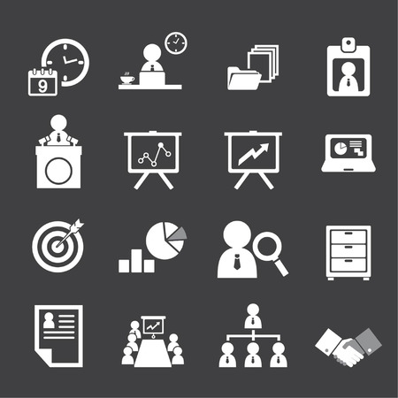 organization and business management icon set Vector