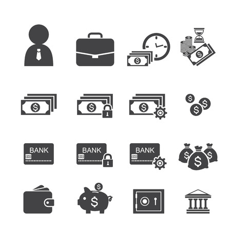 money and finance icon set Vector