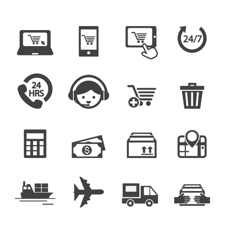 package printing: shopping online icon Illustration