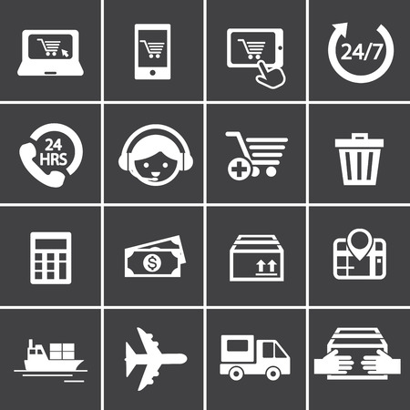 rubbish cart: shopping online icon Illustration