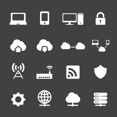 padlock icon: Network and cloud computing icons Illustration